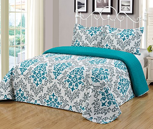 Mk Collection 3pc Bedspread Coverlet Quilted Reversible