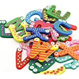 DGI MART 26 Pieces/pack Colorful Wooden Magnetic Letters Refrigerator Magnets