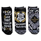 Harry Potter Juniors/Womens 3 Pack Ankle Socks Shoe Size 4-10 (Black/Grey)