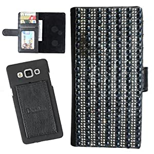 DooDa PU Leather Wallet Flip Case Cover With Patterned Rhinestone Glitters in Front And Card & ID Slots For HTC ONE X / HTC One X Plus