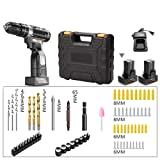 ZJDU Cordless Drill Driver,Clamping Capacity 1-10Mm, 25+1 Torque Adjustment,2-Variable Speed,with 68 Pcs Accessories 2X1500mah Lithium Battery Pack,Complete Toolbox,25V (Tamaño: 25V)