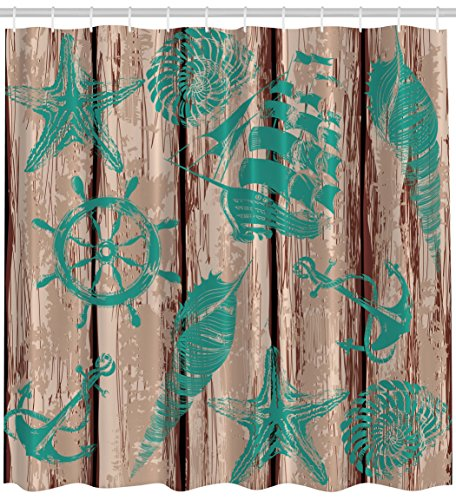 Ambesonne Nautical Wood Planks Marine Decor Pirate Ship Helm Wheel  Seashells Sea Star Anchor And Rope 69 W X 70 L Inch Polyester Shower Curtain