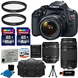 Canon EOS Rebel T5 18MP EF-S Digital SLR Camera Bundle with Lens, Bag and Accessories (15 Items)