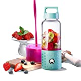 Personal Smoothie Blender, Kacsoo Detachable Portable Blender Fruit Mixer, Single Serve Juicer Cup, Lightweight USB Rechargeable Travel Blender for Shakes and Smoothies, FDA Approved,BPA Free(Blue) (Color: Blue)