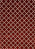 002 Burgundy Beige 7'10x10'2 Contemporary Simple Moden Area Rug Carpet