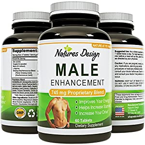 Natural Male Enhancement Supplement - 745 MG Potent and High Quality Capsules - Pure Maca Root, L-Arginine & Tongkat Ali Powder - Guaranteed By Natures Design