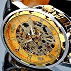 2014 Golden Dial Fashion Golden Skeleton Mechanical Hand Wind Vintage Black Leather Wristwatches