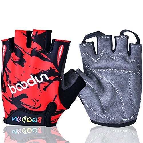 Mifulgoo Boy Girl Child Children Kid Lycra Padded Half Finger Fingerless Short Gloves Mitt Mitten for Cycling MTB Exercise Skate Skateboard Roller Skating