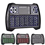 3 Colors Backlit Mini Wireless Keyboard,Marcherry 2.4GHz Gaming Keyboard with Touchpad Mouse,USB Rechargable Li-ion Battery and Handheld Remote Control for Smart TV,Set-top Boxes,Projector,PC,X-Box
