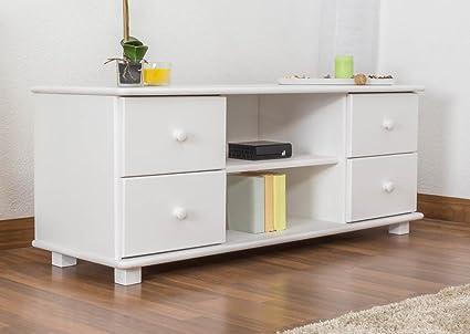 Meuble TV bois du pin massif blanc 002 - Dimensions: 55 - 136 - 47 cm (H - L - P)