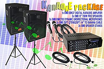 "EMB Professional Sound System Karaoke Pakage ! 1x EMB Ebk37 Digital Karaoke Amplifier + 2x EMB 12"" 700w FR12 Speakers + 2x EMB Emic700 Dynamic Undirectional Microphones + 2x EMB 25ft Qtb16g25ft 1/4"" to Banana Cable + 2x EMB Speaker Stands"
