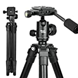 Moonlonna Camera Tripod, Portable Lightweight Compact Travel DSLR Tripod with 360 Ball Head, 1/4 Plate,Two Gradienter and Bag for Canon,Nikon,Sony,Samsung,Olympus Camera