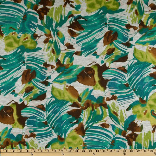 Garden Tissue Jersey Knit Watercolor Turquoise/Lime Fabric By The YD