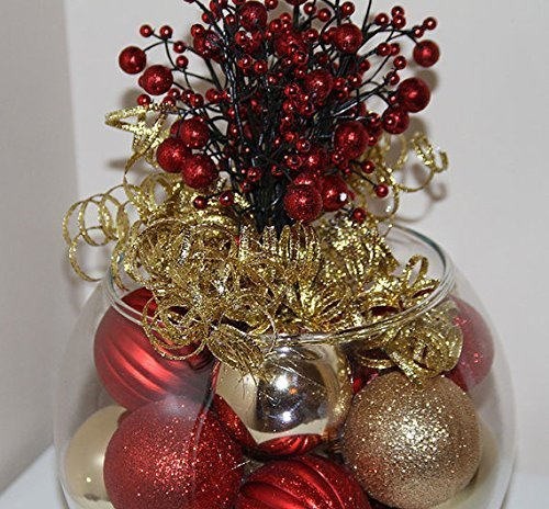 Red and gold berry topped centerpiece home garden decor