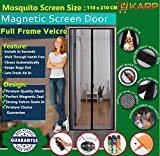KARP Premium Quality Magnetic Screen Door Full Frame Velcro - Keep Bugs Out Lets Fresh Air In. No More Mosquitos or Flying Insects - Children and Pet Friendly, Instant Bug Mesh with Top-to-Bottom Seal, Snaps Shut Like Magic for a Hands-Free Bug-Proof Curtain (4 Foot Length X 7 Foot Height) (Black Color), Package weight - 655 Gram
