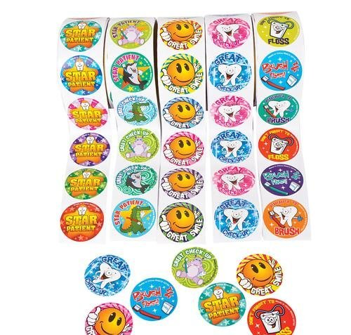 Dental Roll Sticker Assortment, 5 Rolls 100 Stickers Per Roll / 500 Total, Dentist Stickers, Tooth Fairy - 1