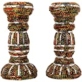 Ved Indian Heritage Fiber Candle Stand Set Of 2 (25 Cm X 15 Cm X 04 Cm, Maroon & Green)
