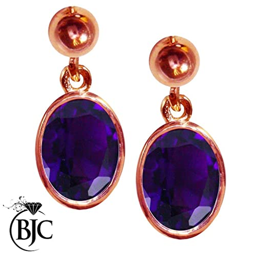 BJC® 9ct Rose Gold Natural Amethyst 3.00ct Oval Single Drop Dangling Stud Earrings Brand New with Gift Box