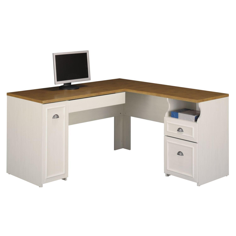 White & Black L-Shaped Computer Desks with Hutch