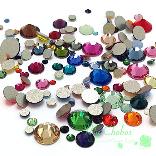 Mixed Sizes & Colors 144 pieces Swarovski 2058/2088 Crystal Flatbacks rhinestones nail art mixed with Sizes ss5, ss7, ss9, ss12, ss16, ss20, ss30 (Mixed Size Flatback Rhinestones compare prices)