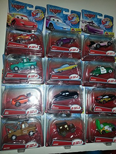 Disney Cars set of 12 2015 Color Changers: SALLY, 2X McQueen, Boost, 2X Mater, Ramone, Sheriff, Wingo, Sarge, SNOT ROD, and DOC HUDSON!! (Color Shifters Disney Cars compare prices)