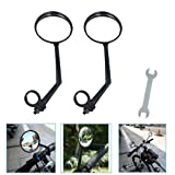 A Pair of Rearview Bicycle Mirrors, Bike Mirrors Support 360°Rotation (Suitable for Mountain Bike, Off-Road Bike and Fixed Gear Bike with The Handlebar 1.8 cm - 2 cm (0.71 in - 0.79 in) Diameter) (Color: Black)