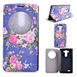 Billionn® Case for LG G3 Cover for LG G3 Flip Case for LG G3 Case Cover for LG G3 Case With Stand for LG G3 Open the Window Paint All kinds of Flower Patterns With high Quality PU Leather Slim Protective Case Cover With Stand Magnetic for LG G3 Purple bot