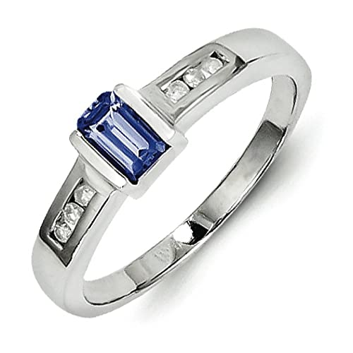 Sterling Silver Tanzanite and Diamond Ring - Ring Size Options Range: L to P