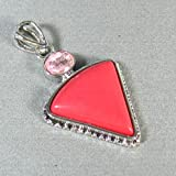 Red Stone Sterling Silver Plated pendant - Lovely Pink Triangular Stone Pendant