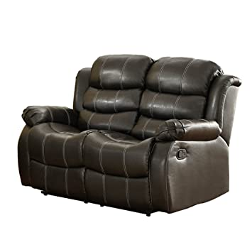 Black Bonded Leather Recliner Loveseat by Homelegance
