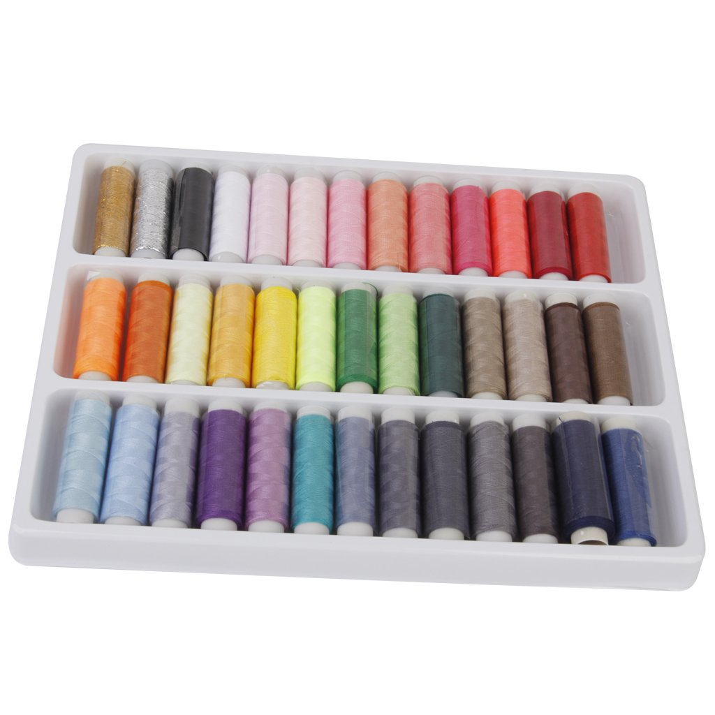 LyonsBlue 39 Assorted Color 200 Yards Per Unit Polyester Sewing Thread Spool Set