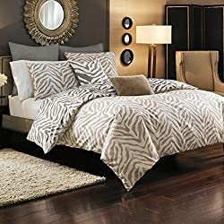Style Domain Kenyon Zebra Animal Print Queen Full Duvet Cover Set, Brown/Beige