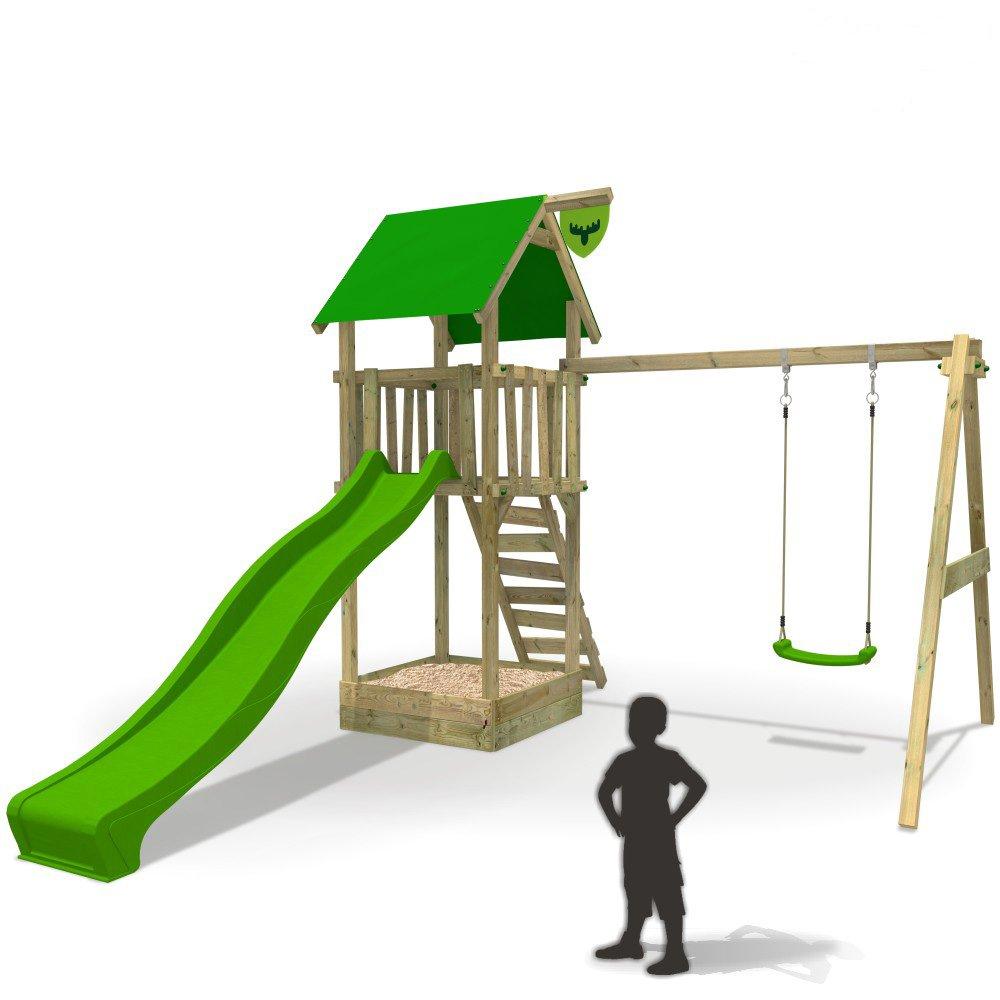 FATMOOSE MagicMonkey Ultra XXL Spielturm Kletterturm Baumhaus mit Schaukel Rutsche (Rutschenfarbe: Hellgrün) günstig online kaufen