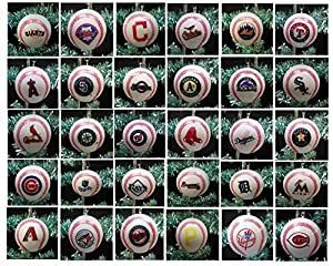 "MLB Major League Baseball Complete League Set of 30 Holiday Christmas Tree Ornaments Featuring Team Baseball Ornaments Ranging from 2"" to 2.5"" Tall Including Arizona Diamondbacks, Atlanta Braves, Baltimore Orioles, Boston Red Sox, Chicago White Sox, Chicago Cubs, Cinncinnati Reds, Cleveland Indians, Colorado Rockies, Detroit Tigers, Miami Marlins, Houston Astros, Kansas City Royals, Los Angeles Angels, Los Angeles Dodgers, Milwaukee Brewers, Minnesota Twins, New York Mets, New York Yankees, Oakland Athletics, Philadelphia Phillies, Pittsburgh Pirates, San Diego Padres, San Francisco Giants, Seattle Mariners, St. Louis Cardinals, Tampa Bay Rays, Texas Rangers, Toronto Blue Jays, and Washington Nationals"