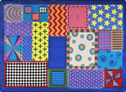 "Joy Carpets Kid Essentials Infants & Toddlers Crazy Quilt Rug, Multicolored, 5'4"" x 7'8"""
