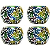CraftJunction Set Of 4 Handcrafted Mosaic Glass Tea Light Holder(3*3 Inches)