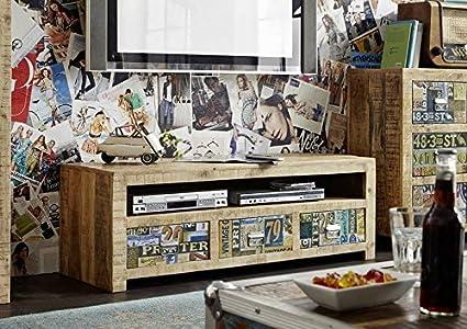 Meubles en bois massif de manguier laqué meuble tV vintage massivmöbel bois massif multicolore detroit#51