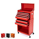 Big Tool Chest,Removable 2 in 1 Tool Box,8-Drawer Tool Storage,Detachable Tool Chest with 4 Universal Wheels (2 PCS Lockable),Keyed Locking System Toolbox Organizer,Red (Color: Red)