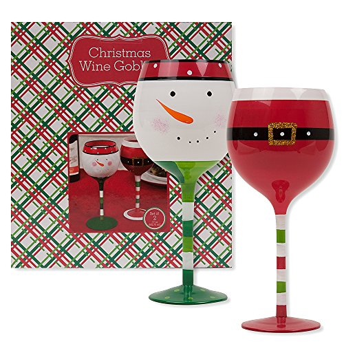 Christmas 16.9 oz Santa Belt and Snowman Wine Glasses (Set of 2) (Santa and Snowman Set) (Pier One Imports Wine Glasses compare prices)