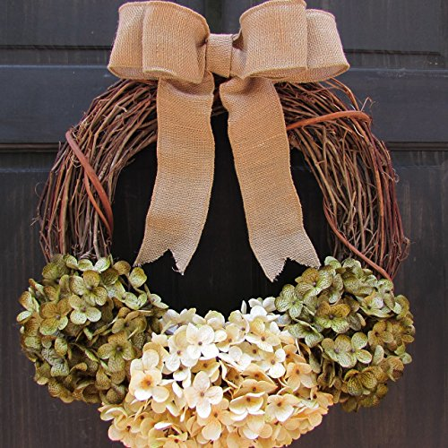 Rustic Fall Grapevine Wreath ~ Year Round / All Season Front Door Hanger ~ Green & Cream Hydrangea Decor