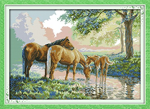 YEESAM ART® New Cross Stitch Kits Advanced Patterns for Beginners Kids Adults - Horse Family 11 CT Stamped 77×56 cm - DIY Needlework Wedding Christmas Gifts (Horse Cross Stitch Charts compare prices)