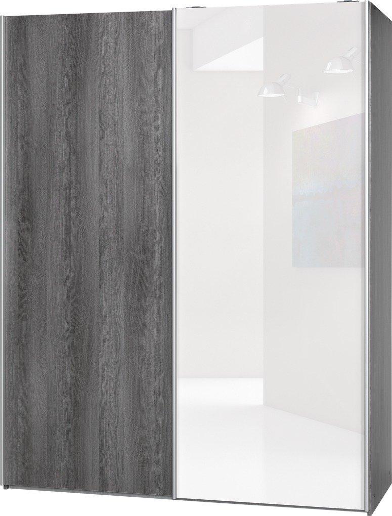 Schwebetürenschrank Soft Plus Smart Typ 43″, 150 x 194 x 61cm, Silbereiche/Silbereiche/Weiß hochglanz