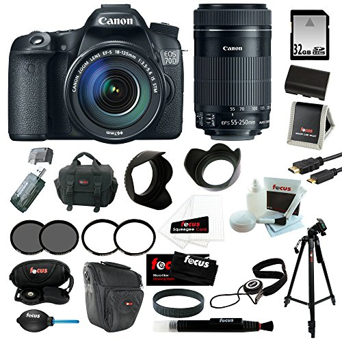 Canon Eos 70D Efs 18-135Mm Is Stm Kit + Canon Ef-S 55-250Mm F/4-5.6 Is Stm Lens + 32Gb Sd Hc Memory Card + 67Mm Uv Protector + Replacement Battery For Canon + Accessory Kit