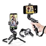 Zeadio Ergonomic Swivel Smartphone Handheld Grip Stabilizer Tripod Selfie Stick Handle Steadycam Kits with Bluetooth Remote, Fits iPhone Samsung Huawei Sony LG Nexus Nokia and All Phones (Color: Black, Tamaño: Pro Version)
