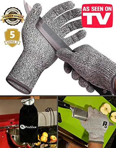 ProSlice Cut Resistant Gloves, AS SEEN ON TV, 2nd Revision, High Performance Level 5 Protection - FREE Carrying Case! (Hand Sewing Machine As Seen On Tv compare prices)