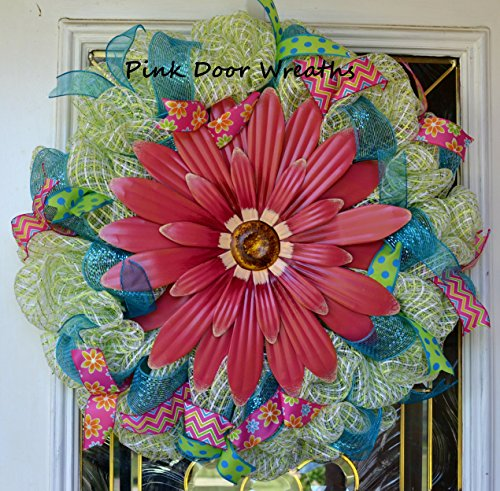 Spring flowers deco mesh wreath; Light Lime green teal turquoise pink fuchsia