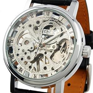 ESS Men's Black Leather Luxury Skeleton Dial Hand-Wind Up Mechanical Wrist Watch WM119