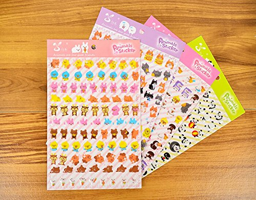 ONOR-Tech 4 Sheets Cute Lovely 3D DIY Cartoon Animal SL-CY Decorative Puffy Adhesive Sticker Tape / Kids Craft Scrapbooking Sticker Set for Diary, Album
