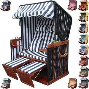 garten strandkorb inkl luxus strandkorb schutzh lle u 4x kissen blau weiss gestreift mit. Black Bedroom Furniture Sets. Home Design Ideas