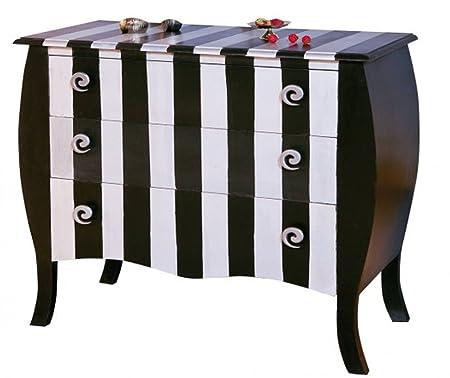 Commode console de rangement avec 3 tiroirs coloris Noir Argent - Dim : 70 x 40 x 78 cm -PEGANE-